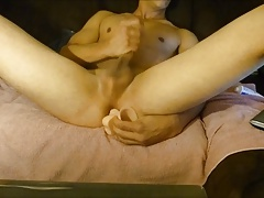 Teen boy play with dildo and big cumshot