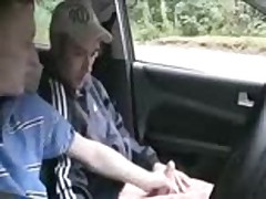 2 chavs suck in car then fuck outside