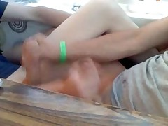 Two boys jerking each other